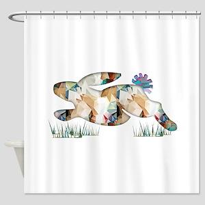 Mosaic Polygon Running Rabbit Paste Shower Curtain
