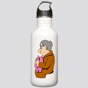 Woman And Piggy Bank Water Bottle