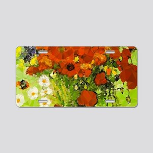 Van Gogh Red Poppies Daisies Aluminum License Plat