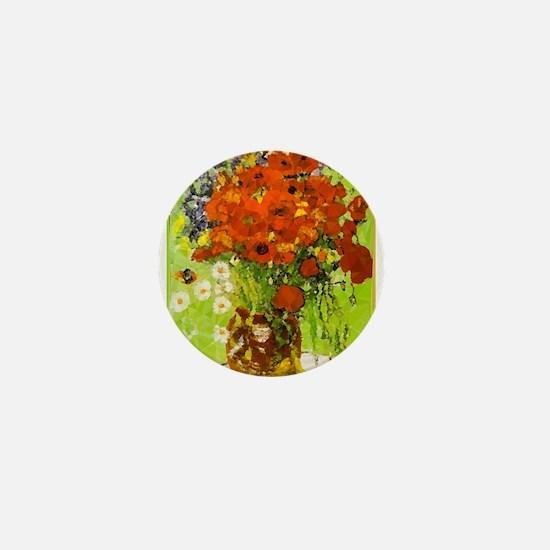 Van Gogh Red Poppies Daisies Mini Button