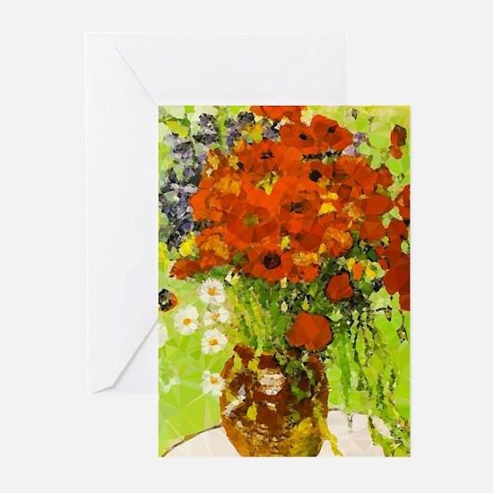 Van Gogh Red Poppies Daisies Greeting Cards