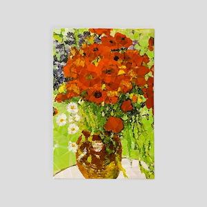 Van Gogh Red Poppies Daisies 4' X 6' Rug