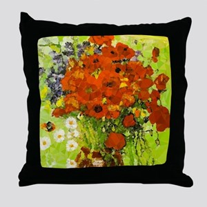Van Gogh Red Poppies Daisies Throw Pillow
