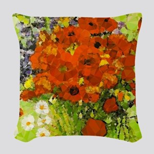 Van Gogh Red Poppies Daisies Woven Throw Pillow