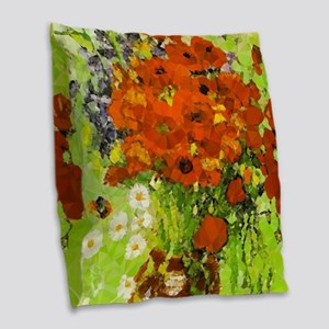 Van Gogh Red Poppies Daisies Burlap Throw Pillow