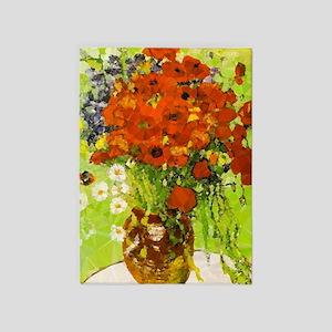 Van Gogh Red Poppies Daisies 5'x7'area Rug