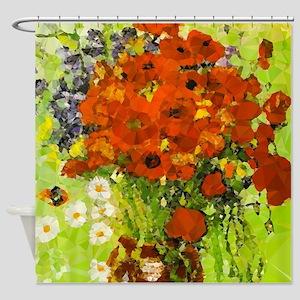Van Gogh Red Poppies Daisies Shower Curtain