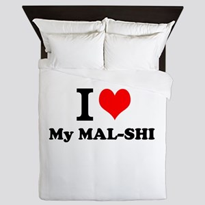 I Love My MAL-SHI Queen Duvet