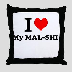 I Love My MAL-SHI Throw Pillow