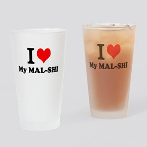 I Love My MAL-SHI Drinking Glass