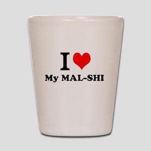 I Love My MAL-SHI Shot Glass