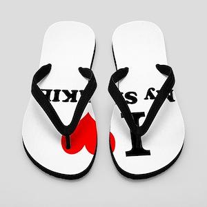 I Love My SHORKIE Flip Flops