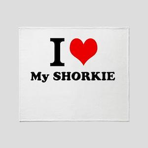 I Love My SHORKIE Throw Blanket