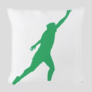 Green Shot Put Silhouette Woven Throw Pillow