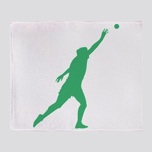 Green Shot Put Silhouette Throw Blanket
