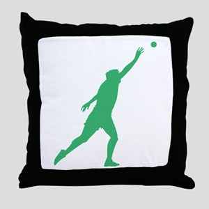 Green Shot Put Silhouette Throw Pillow