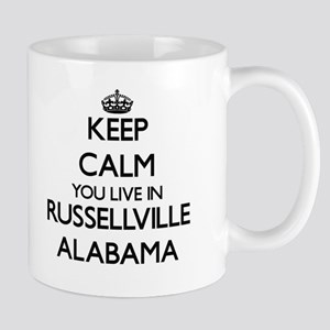 Keep calm you live in Russellville Alabama Mugs