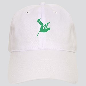 Green Pole Vaulter Silhouette Baseball Cap