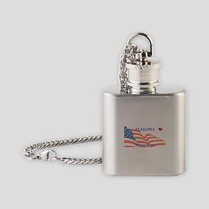 AL - God Bless America blank licens Flask Necklace