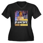 Clinton = Fascist Women's Plus Size V-Neck Dark T-