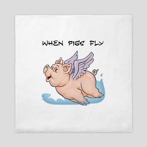 When pigs fly Queen Duvet