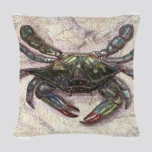 Chesapeake Bay Blue Crab Woven Throw Pillow