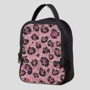 Pink Black Leopard Print Neoprene Lunch Bag