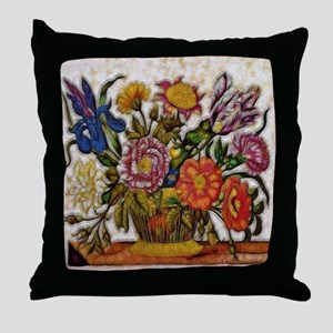 Flower Basket Throw Pillow