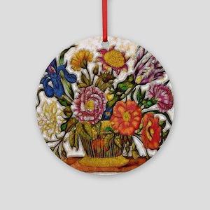 Flower Basket Round Ornament