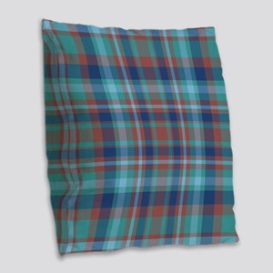 Marsala Plaid Burlap Throw Pillow