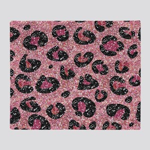Pink Black Leopard Print Throw Blanket