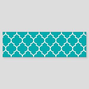 TEAL AND WHITE Moroccan Quatrefoil Bumper Sticker
