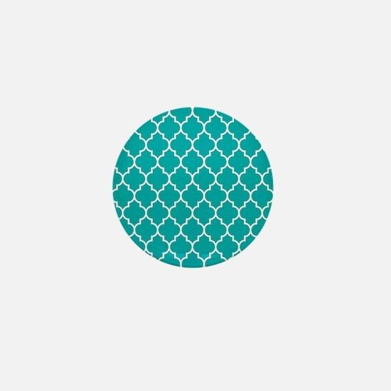 TEAL AND WHITE Moroccan Quatrefoil Mini Button