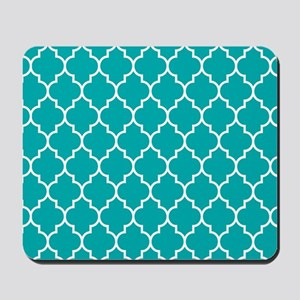 TEAL AND WHITE Moroccan Quatrefoil Mousepad