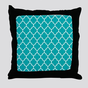 TEAL AND WHITE Moroccan Quatrefoil Throw Pillow