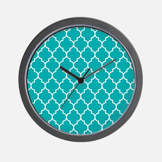TEAL AND WHITE Moroccan Quatrefoil Wall Clock