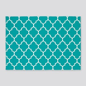 TEAL AND WHITE Moroccan Quatrefoil 5'x7'Area Rug