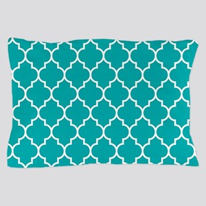 TEAL AND WHITE Moroccan Quatrefoil Pillow Case