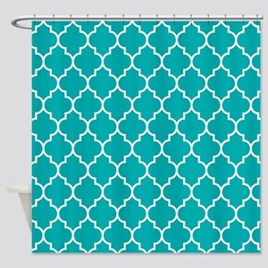 TEAL AND WHITE Moroccan Quatrefoil Shower Curtain