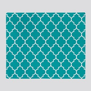 TEAL AND WHITE Moroccan Quatrefoil Throw Blanket