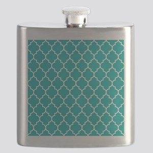 TEAL AND WHITE Moroccan Quatrefoil Flask