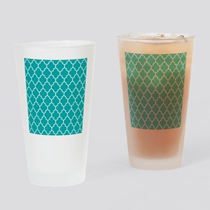 TEAL AND WHITE Moroccan Quatrefoil Drinking Glass