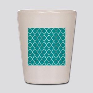 TEAL AND WHITE Moroccan Quatrefoil Shot Glass