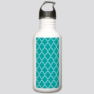 TEAL AND WHITE Moroccan Quatrefoil Water Bottle