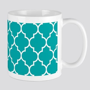 TEAL AND WHITE Moroccan Quatrefoil Mugs