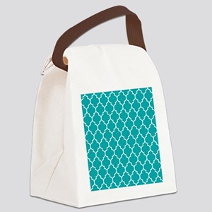 TEAL AND WHITE Moroccan Quatrefoil Canvas Lunch Ba