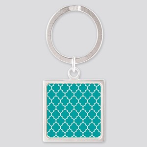 TEAL AND WHITE Moroccan Quatrefoil Keychains