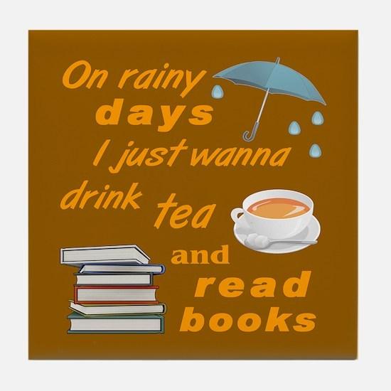 Rainy Day Tea Books Tile Coaster
