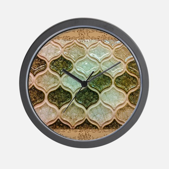 Mosaic in green Wall Clock