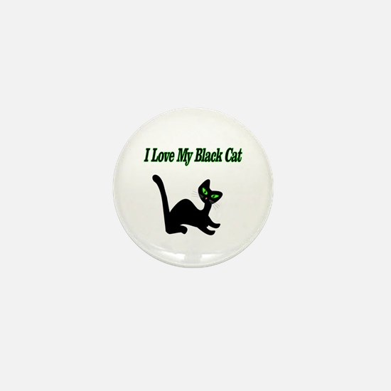 I Love My Black Cat Mini Button (10 pack)